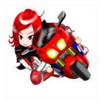 オリジナルバイクステッカーRVF風なバイクに乗った女子☆
