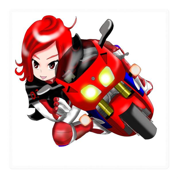 RVF風なバイクに乗った走り屋女子ステッカー