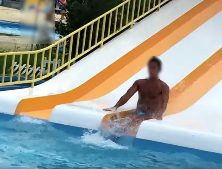 スライダー兄さん水面滑走